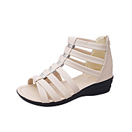 Kényelmes-Lapos-Női cipő-Szandálok-Ruha Alkalmi-PU-Fekete Bézs