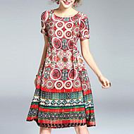 Women's Boho Going out Street chic A Line Dress,Print Round Neck Knee-length Short Sleeve Silk Polyester Red Summer Mid Rise Micro-elastic