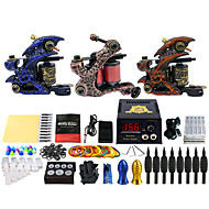 Solong Tattoo Complete Tattoo Kit 3 Pro Machines 54 Inks Power Supply Foot Pedal Needles Grips Tips TK353