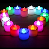 24pcs LED lys stearinlys form flameless stearinlys lys for bryllupsfesten fritidsbolig club bar dekorasjon (ramdon farge)