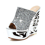 Women's Slippers & Flip-Flops Spring Summer Fall Other Synthetic Office & Career Party & Evening Dress Wedge Heel Sequin Silver Gold