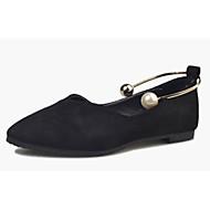 Feminino Rasos Conforto botas de desleixo Courino Primavera Outono Casual Caminhada Conforto botas de desleixo Pérolas RasteiroPreto