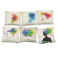 Set of 6 Ink Floral girl pattern  Linen Pillow Case Bedroom Euro Pillow Covers 18x18 inches Cushion cover