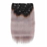 7 adet / 1b / gri bir kâğıt oyunu rengi siyah 14 inç 18inch% 100 insan saçı saç uzatma klibi gri