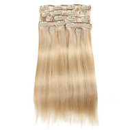9Pcs/Set Deluxe 120g P18/613 Piano Blonde Balayage Hair Clip In Hair Extensions 16Inch 20Inch 100% Straight Human Hair