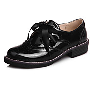 Oxford-kengät-Matala korko Leveä korko Block Heel-Naiset-Kiiltonahka-Musta Pinkki Burgundi-Toimisto Puku Rento