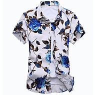 Erkek Orta Pamuklu Kısa Kollu Gömlek Yaka Bahar Sonbahar Çiçekli Sade Dışarı Çıkma Günlük/Sade Beyaz Siyah-Erkek Gömlek