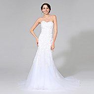 Trumpet / Mermaid Wedding Dress Sweep / Brush Train Sweetheart Tulle with Appliques / Beading / Crystal