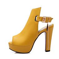 Sandálias-Inovador Gladiador Sapatos clube-Salto Grosso-Preto Amarelo Branco-Courino-Escritório & Trabalho Social Casual