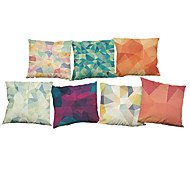Set of 7 Creative geometry lattice  Linen  Cushion Cover Home Office Sofa Square  Pillow Case Decorative Cushion Covers Pillowcases