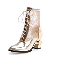 Women's Boots Spring Summer Fall Comfort Gladiator Club Shoes Tulle PU Wedding Casual Party & Evening Spool Heel Lace-up Gold White Silver