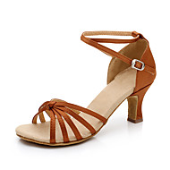 Sapatos de Dança(Preto Azul Marrom Vermelho Prateado Dourado Leopardo Amêndoa) -Feminino-Não Personalizável-Latina
