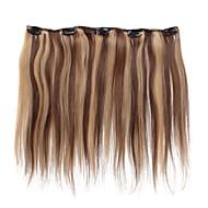 5 clipes de 18 polegadas clipe em extensões do cabelo 41g humano destacou cabelos lisos