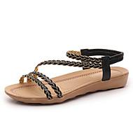 """נשים סנדלים נעלי בובה (מרי ג'יין) PU קיץ שמלה נעלי בובה (מרי ג'יין) רצועה קלועה עקב שטוח שחור בז' מתחת ל 2.54 ס""""מ"""