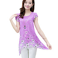 Women's Casual/Daily Plus Size / Punk & Gothic Summer Blouse,Floral Round Neck Short Sleeve Pink / Yellow / Purple Polyester Thin