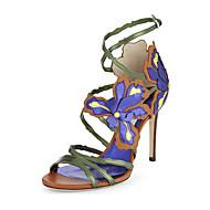 Žene Sandale Ljeto Ostalo Umjetna koža Ured i karijera Formalne prilike Ležeran Zabava i večer Stiletto potpetica Kopča Cvijet Plava