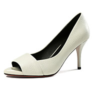 Women's Heels Spring Summer Fall Club Shoes Cowhide Wedding Office & Career Dress Stiletto Heel Others Black Red White