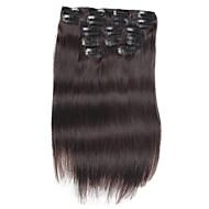 7 pcs / set grampo em extensões do cabelo 14inch 18inch 100% de cabelo humano preto natural para as mulheres
