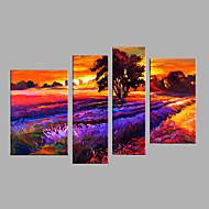 Ručně malované Krajina Květinový/Botanický motiv Vertikálně,Moderní evropský styl Čtyři panely Plátno Hang-malované olejomalba For Home
