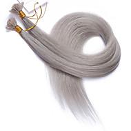 cor #grey extensões de cabelo ponta plana 10a melhor qualidade extensões de cabelo Remy peruana cabelo humano fusão queratina unha cinza
