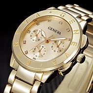 아가씨들 패션 시계 손목 시계 라인석 석영 스테인레스 스틸 밴드 멋진 실버 골드