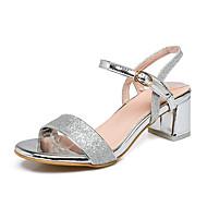 Damen-Sandalen-Büro Kleid Party & Festivität-Kunststoff-Blockabsatz-Fersenriemen-Gold Silber Rosa