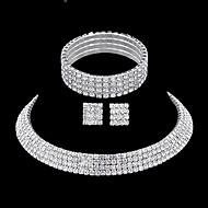 Sieraden Set Oorknopjes Ketting Armband Bergkristal Modieus Elegant Meerlaags Bruids Strass Rechthoekige vorm ZilverKettingen Oorbellen