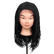 2017 venda rendas quente tranças caixa 3s frotal peruca tranças 16 polegadas trança peruca sintética marrom escuro cor preta 1pcs perucas