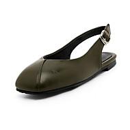 Damen-Cloggs & Pantoletten-Outddor Kleid Lässig-PU-Flacher Absatz-Komfort Leuchtende Sohlen-Weiß Schwarz Grün