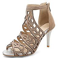 Feminino-Sandálias-Gladiador Sapatos clube-Salto Agulha-Preto Amêndoa-Flanelado Materiais Customizados-Escritório & Trabalho Social