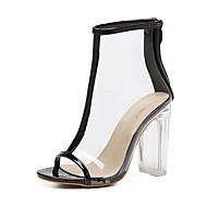 Feminino-Sandálias-Shoe transparente-Salto Grosso Salto de bloco--Borracha-Social