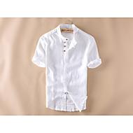 Erkek Orta Keten Kısa Kollu Alttan Düğmeli Yaka Yaz Solid Sade Günlük/Sade-Erkek Gömlek