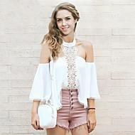 Women's Going out Sexy Cute Blouse,Solid Halter Polyester