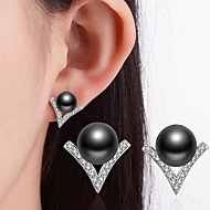 Black White Stud Earrings Pearl Rhinestone Classic Alloy Jewelry ForWedding Party Special Occasion Thank You Business Daily Casual