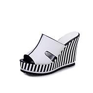 Sandały-Damskie-Comfort-Koturn-White Black-PU-Casual