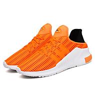 Masculino-Tênis-Conforto Solados com Luzes par sapatos-Rasteiro-Branco Preto Laranja Cinzento-Tule-Ar-Livre Casual Para Esporte