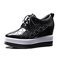 נשים-נעלי ספורט-עור עור פטנט-נוחות נעלי מועדון-שחור ירוק-משרד ועבודה שמלה יומיומי-עקב שטוח