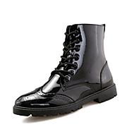 Masculino-Botas-Conforto sapatos Bullock-Rasteiro-Preto Prata Vermelho-Courino-Escritório & Trabalho Casual Para Esporte