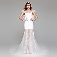 a-line 웨딩 드레스는 단순히 숭고한 바닥 길이의 레이스가 달린 어깨 레이스 얇은 명주 그물