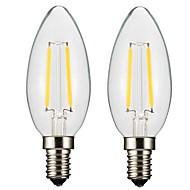2W E14 E12 LED filament žarulje CA35 2 COB 300 lm Toplo bijelo Može se prigušiti AC 220-240 AC 110-130 V 2 kom.