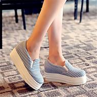 Dame-Lerret-Lav hæl-Komfort-Oxfords-Fritid-Blå