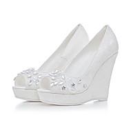 レディース-ウェディング ドレスシューズ パーティー-オーダーメイド素材-ウェッジヒール-フラワーガールの靴 クラブシューズ-ヒール-ホワイト