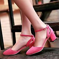 Feminino-Sandálias-Chanel-Salto Baixo-Preto Vermelho-Couro Ecológico-Casual