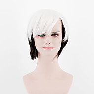 Women Synthetic Wigs Japan and South Korea fashion Ombre white black short oblique Bangs straight hair Heat Friendly Fiber wig