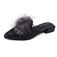 Dame Flate sko Komfort Slouch Støvler Lakklær Vår Høst Avslappet Gange Komfort Slouch Støvler Paljett Pom-pom Flat hæl Hvit Svart Flat