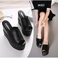 Damen-Slippers & Flip-Flops-Lässig-Mikrofaser-Creepers-Komfort-Weiß Schwarz