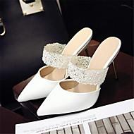 נשים-סנדלים-PU-נעלי בובה (מרי ג'יין)-לבן-יומיומי-עקב וודג'