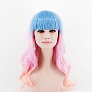 Women Synthetic Wigs fashion Ombre blue pink mixed color long Straight With Bang Body wave Heat Friendly Fiber For Halloween