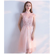 Cocktail Party Dress A-line High Neck Knee-length Tulle with Beading