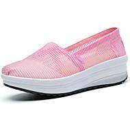 Feminino-Mocassins e Slip-Ons-Conforto Sapatos de Berço-Rasteiro-Preto Bege Rosa claro-Tule-Ar-Livre Casual